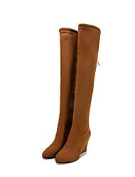 cheap -Women's Shoes Suede Fall & Winter Comfort Boots Wedge Heel Light Grey / Wine / Light Brown