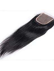 billiga -Brasilianskt hår 4x4 Stängning Rak Fria delen Schweizisk spetsperuk Äkta hår Dam Bästa kvalitet Dagliga kläder