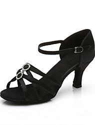 Недорогие -Жен. Обувь для латины Сатин На каблуках Crystal / Rhinestone Тонкий высокий каблук Персонализируемая Танцевальная обувь Черный