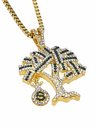 cheap -Men's Cubic Zirconia Stylish / Link / Chain Pendant Necklace / Chain Necklace - Tree of Life, Dollars Unique Design, European, Hip-Hop Gold, Silver 60 cm Necklace 1pc For Gift, Street