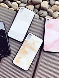 Недорогие -Кейс для Назначение Apple iPhone X / iPhone 8 С узором Кейс на заднюю панель Мрамор Твердый Закаленное стекло для iPhone X / iPhone 8 Pluss / iPhone 8