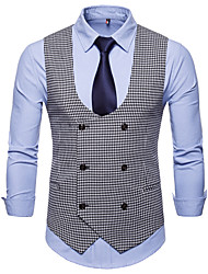 cheap -Men's Plus Size Vest-Houndstooth Peaked Lapel / Sleeveless