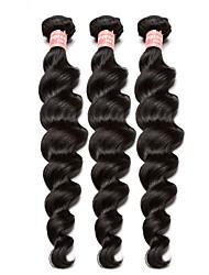 abordables -Lot de 3 Cheveux Brésiliens Ondulation naturelle 8A Cheveux Naturel humain One Pack Solution Tissage 10-28 pouce Tissages de cheveux humains Extensions de cheveux Naturel humains Tous