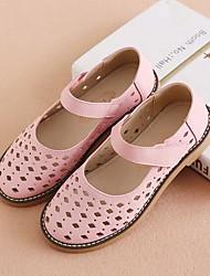Недорогие -Девочки Обувь Кожа Весна лето Удобная обувь Сандалии С отверстиями для Дети Белый / Розовый
