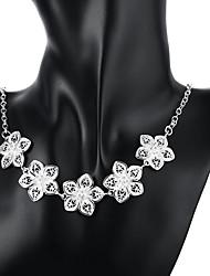 abordables -Mujer Borla Collares con colgantes - Plata de ley, Plateado Flor Moda Plata Gargantillas Para Ocasión especial, Cumpleaños, Regalo