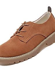 baratos -Mulheres Sapatos Couro Ecológico Outono Conforto Oxfords Salto Baixo Ponta Redonda Preto / Castanho Claro