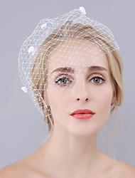 Недорогие -Один слой Euramerican Свадебные вуали Короткая фата с Лепестки 30 cm Хлопок / нейлон с намеком на участке / В сеточку