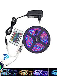 baratos -HKV 5m Conjuntos de Luzes / Faixas de Luzes RGB 300 LEDs 3528 SMD 1 controlador remoto de 24Keys / 1 x adaptador de energia 2A RGB Impermeável / Cortável / Conetável 100-240 V