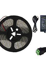 Недорогие -5 метров Гибкие светодиодные ленты 300 светодиоды SMD5630 1 адаптер питания X 5A Тёплый белый / Холодный белый Водонепроницаемый / Можно резать / Компонуемый 100-240 V 1шт