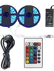baratos -KWB 2x5 milhões Faixas de Luzes LED Flexíveis / Controles remotos / Luzes inteligentes 600 LEDs SMD5050 1 adaptador 12V 6A / 1 controlador remoto de 24Keys RGB Impermeável / Cortável / Decorativa