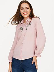 Недорогие -Жен. Вышивка Рубашка Хлопок, Рубашечный воротник Свободный силуэт Однотонный / Полоски