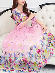 economico -Per donna Elegante Manica Flare Chiffon Vestito - Con stampe, Fantasia floreale Maxi Rose / Primavera / Estate