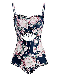 cheap -Women's One-piece - Floral Backless / Ruffle / Print Cheeky