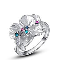 abordables -Femme Cristal Stylé Bague - Fleur Artistique, Coloré 6 / 7 / 8 / 9 Argent Pour Mascarade Rendez-vous