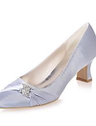 abordables -Femme Chaussures Satin Printemps été Escarpin Basique Chaussures de mariage Talon Bobine Bout carré Strass Bleu / Rose / Ivoire / Mariage / Soirée & Evénement
