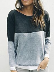 Недорогие -Жен. Классический Пуловер - Однотонный / Контрастных цветов