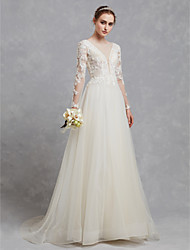 cheap -A-Line Illusion Neck Sweep / Brush Train Lace / Tulle Made-To-Measure Wedding Dresses with Appliques / Lace by LAN TING BRIDE® / Illusion Sleeve