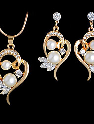 cheap -Women's Freshwater Pearl Hollow Out Jewelry Set - Heart Romantic, Casual / Sporty, Fashion Include Pendant Necklace / Earrings Gold / Silver For Gift / Date