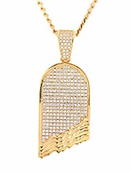 cheap -Men's Cubic Zirconia Stylish / Cuban Link Pendant Necklace / Chain Necklace - Skateboard Stylish, European, Hip-Hop Gold, Silver 60 cm Necklace 1pc For Street, Club