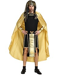cheap -Egyptian Costume Costume Men's Halloween Carnival Masquerade Festival / Holiday Halloween Costumes Outfits Golden Solid Colored Striped Halloween Halloween