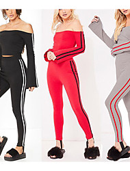 cheap -Women's Off Shoulder Tracksuit - Black, Red, Grey Sports Stripe High Rise Tights / Leggings / Crop Top Yoga, Running, Fitness Long Sleeve Activewear Lightweight, Quick Dry, Breathable Micro-elastic