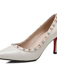 cheap -Women's Nappa Leather Spring Basic Pump Heels Stiletto Heel White