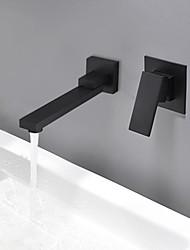 Недорогие -Ванная раковина кран - Широко распространенный / Новый дизайн черный На стену Одной ручкой Два отверстия