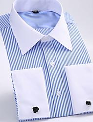 Недорогие -Муж. Рубашка Классический воротник Классический Полоски / Длинный рукав