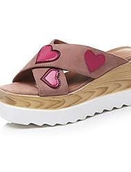 cheap -Women's Shoes Sheepskin Summer Comfort / Basic Pump Slippers & Flip-Flops Wedge Heel Black / Light Pink