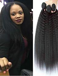 Недорогие -3 Связки Бразильские волосы Естественные прямые Не подвергавшиеся окрашиванию Накладки из натуральных волос 8-28 дюймовый Черный Естественный цвет Ткет человеческих волос Для темнокожих женщин 100