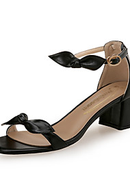 cheap -Women's Pumps Leather Spring & Summer Sandals Chunky Heel Open Toe White / Black / Almond / Party & Evening