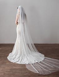 Недорогие -Два слоя Простой стиль Свадебные вуали Фата для венчания с Отделка 118,11 в (300см) Хлопок / нейлон с намеком на участке / Крылья ангела