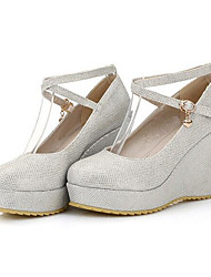 baratos -Mulheres Sapatos Confortáveis Jeans / Pele Napa Outono Saltos Salto Plataforma Branco / Preto / Vermelho / Diário