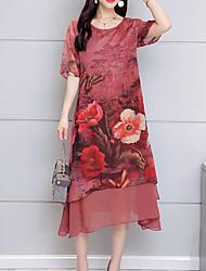 Недорогие -Жен. На выход Хлопок Свободный силуэт Шифон Платье - Цветочный принт, С принтом Средней длины