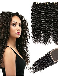 cheap -3 Bundles with Closure Mongolian Hair Deep Wave Unprocessed Human Hair / Human Hair Natural Color Hair Weaves / Hair Bulk / Tea Party Favors / Costume Accessories 8-20 inch Natural Color Human Hair