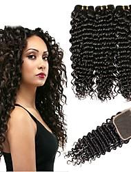 Недорогие -3 комплекта с закрытием Монгольские волосы Крупные кудри 8A Натуральные волосы Необработанные натуральные волосы Человека ткет Волосы Сувениры для чаепития Пучок волос 8-20 дюймовый Естественный цвет
