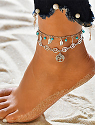 cheap -Turquoise Layered Beads Anklet Ankle Bracelet - Leaf, Tree of Life Dangling Style, Tassel, Bohemian Silver For Holiday Going out Women's
