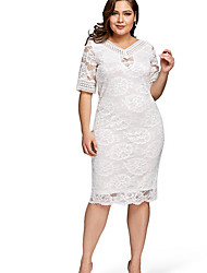 cheap -Women's Basic Sheath Dress - Solid Colored Lace / Lace Trims