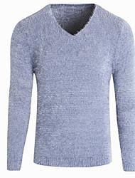 Недорогие -Муж. Повседневные Классический Однотонный Длинный рукав Большие размеры Тонкие Обычный Пуловер, V-образный вырез Осень Черный / Темно-серый / Светло-серый L / XL / XXL