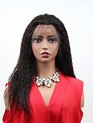 Недорогие -человеческие волосы Remy Лента спереди Парик Бразильские волосы Матовое стекло Черный Парик Ассиметричная стрижка 130% Плотность волос с детскими волосами Женский Легко туалетный Sexy Lady Натуральный