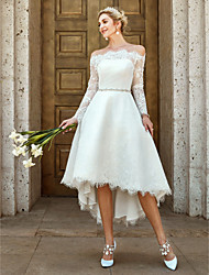 cheap -A-Line Off Shoulder Asymmetrical Lace Made-To-Measure Wedding Dresses with Lace / Crystal Brooch by LAN TING BRIDE® / Illusion Sleeve