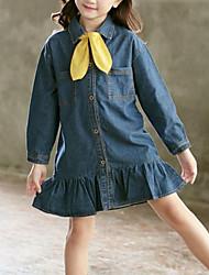 billige -Børn Pige Ensfarvet Langærmet Kjole