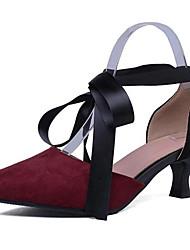 Недорогие -Жен. Комфортная обувь Замша Лето Обувь на каблуках На низком каблуке Белый / Черный / Винный / Повседневные