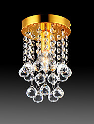 cheap -Semi Flush Mount Ceiling Light Modern LED Crystal Chandelier Chrome 1-Light Dining Room Bedroom Ceiling Lamp