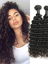 Недорогие -2 Связки Бразильские волосы Глубокий курчавый Натуральные волосы Накладки из натуральных волос 8-26 дюймовый Нейтральный Ткет человеческих волос