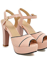 billige -Dame Sko PU Sommer Komfort Sandaler Stilethæle Hvid / Blå / Lys pink