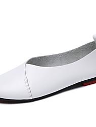 abordables -Femme Chaussures en cuir Cuir Printemps été Minimalisme Ballerines Talon Plat Bout rond Noir / Gris / Marron