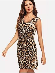 preiswerte -Damen Skater Kleid Leopard Übers Knie
