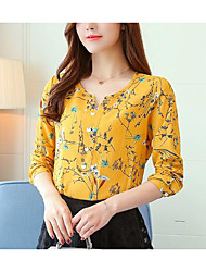 preiswerte -Damen Blumen / Geometrisch - Grundlegend / Street Schick Bluse Gefaltet / Druck Tropisches Blatt / Gänseblümchen