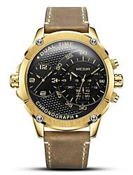 Недорогие -MEGIR Муж. Спортивные часы Японский Кварцевый Натуральная кожа Коричневый 30 m Защита от влаги Календарь Секундомер Аналоговый На каждый день Мода - Черный Серебряный Золотистый